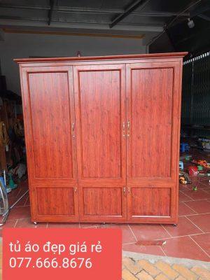 làm tủ áo giả gỗ đỏ đẹp